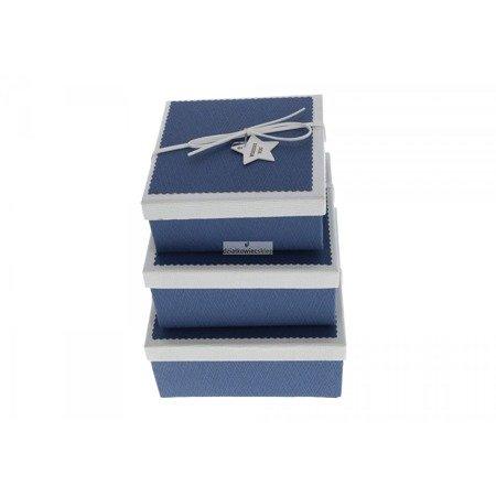 Komplet pudełek niskich z gwiazdą (3 szt.) - niebieskie