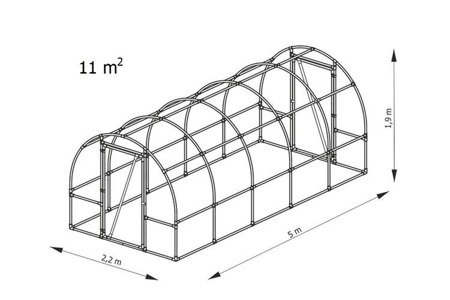 Tunel foliowy *B5* 5,0 x 2,2 x 1,9m folia 4UV