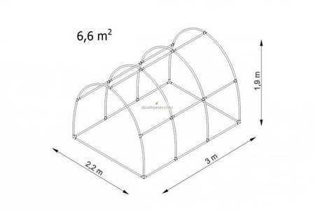 Tunel foliowy *Bv3* 3,0 x 2,2 x 1,9m folia 4UV (rozsuwany)